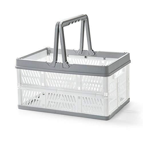 CROWNXZQ Canasta de plástico de 2 Btrice con asa, Caja de Almacenamiento Plegable, Cajas apilables, supermercado portátil Plegable para Picnic, Transporte Plegable para Compras