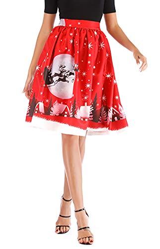Hanlolo Teen Girls Reindeer Christmas Midi Skirt High Waisted Pleated Flared Party Skirt Red