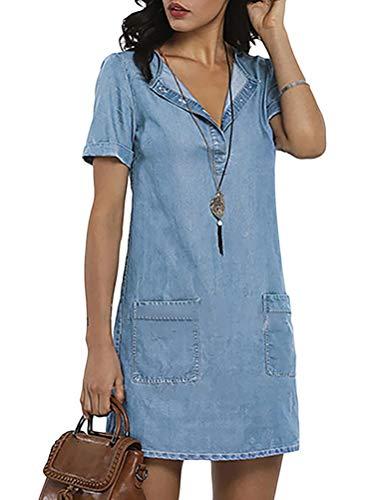 ORANDESIGNE Jeanskleid Sommerkleid Damen Jeans Kleider V-Ausschnitt Kurzarm Partykleid Tunika Hemd Blusenkleid Knielang Kleid Denimkleid B Blau L
