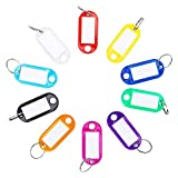 Aisoso 50 Pack Key Tags Plastic Key Labels with Ring and Label Window for Keychain Luggage...