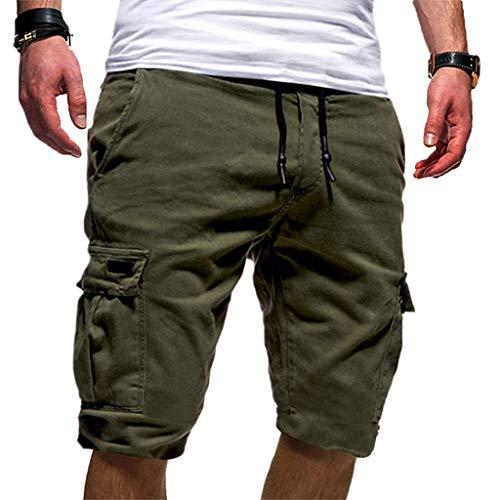 FRAUIT Pantaloni Corti Bermuda Cargo Pantaloncini Uomo Shorts Estivi Uomini Pantaloncino Lavoro Tasconi con Elastico Pantalone Ragazzo Estive Casual Sportivi