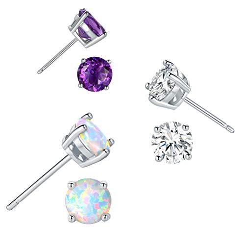 Sterling Silver Earrings for Women Hypoallergenic Opal Amethyst CZ Studs Girls Jewelry Set Gifts Pack of 3