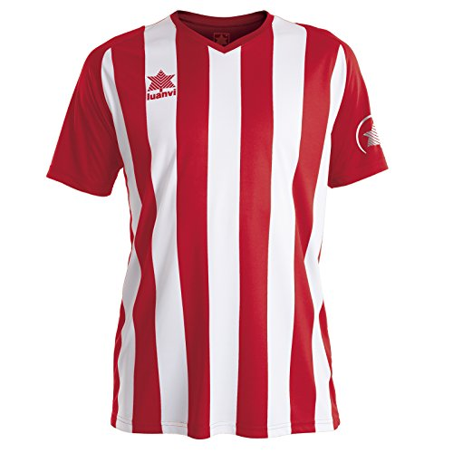 Luanvi New Listada Camiseta de equipación de Manga Corta, Hombre, roja/Blanca, XS