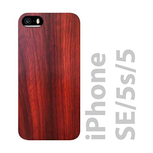 iATO iPhone SE / 5S / 5 Wooden Case - Real Rose Wood Grain Premium Protective Shockproof Slim Back Cover - Unique, Stylish & Classy Snap on Thin Bumper Accessory Designed for iPhone SE / 5S / 5