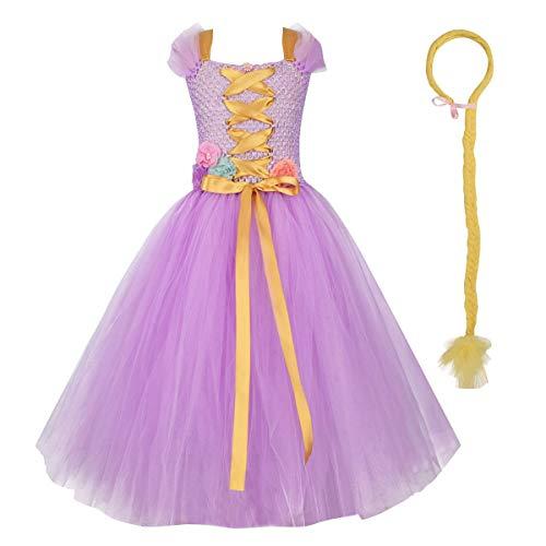 IBAKOM - Disfraz de sirena para niños y niñas, diseño de raiponcia, disfraz de princesa, cosplay, carnaval, Halloween, Navidad, fiesta de cumpleaños, con lentejuelas Morado 2. 0-6 meses