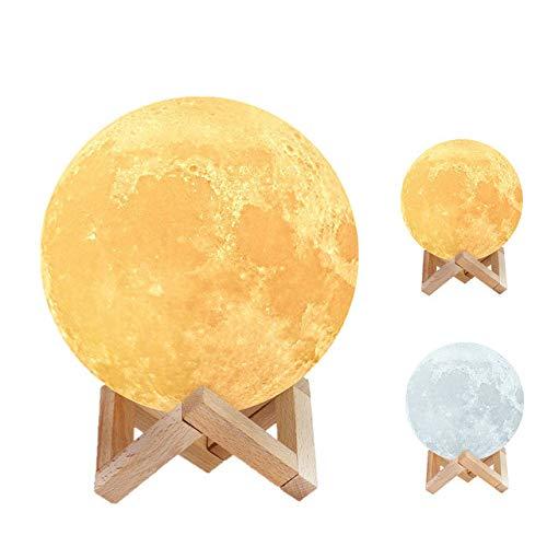 Mondlampe Nachtlicht 3D-Druck Mondlicht wiederaufladbare Farbänderung Touch 16 Farben Mondlampe für Kinderzimmer Schreibtischlampe Wohnkultur - 2 Farben, 20 cm