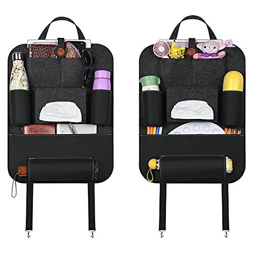 URAQT Auto Organizer, 2 Stk Autositz Organizer aus Filz mit Wasserdichte Taschen, Rückenlehnenschutz Filz Kinder und Multifunktional Taschenorganizer für Auto und Hause