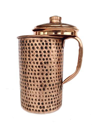 Rastogi Handicrafts Pichet à eau en cuivre pur martelé à la main style indien 1500 ml