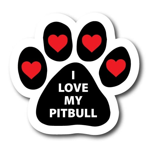 Magnet Me Up I Love My Pitbull Pawprint Car Magnet Paw Print Auto Truck Decal Magnet