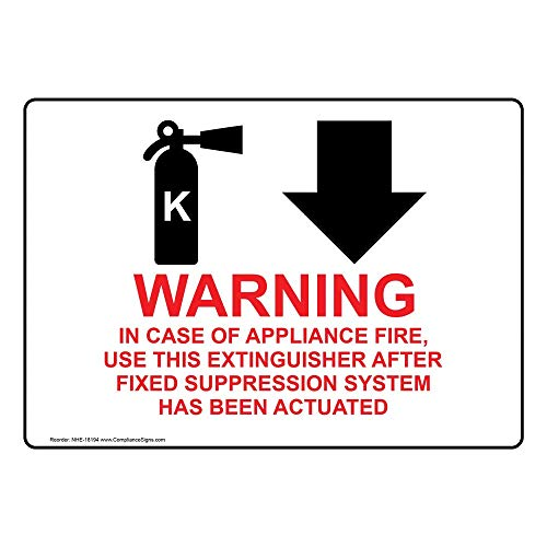 Warning in Case of Appliance Fire, Use This Extinguisher (with Down Arrow) Sign with Symbol, 10x7 inch Plastic by ComplianceSigns