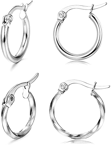 Milacolato 2 pares de pendientes de aro para mujer Pendientes de aro de acero inoxidable Pendientes de aro redondos y retorcidos Set Pendientes de aro de plata y oro