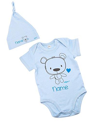 Striefchen® hellblaues Babyset mit Namen - Babybody und Babymütze -Teddybär - als Babygeschenk Größe 3-6 Monate