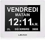 Lemnoi 7.5' Pouce LCD Horloge Numérique Calendrier avec Date Jour Et Heure Horloge...