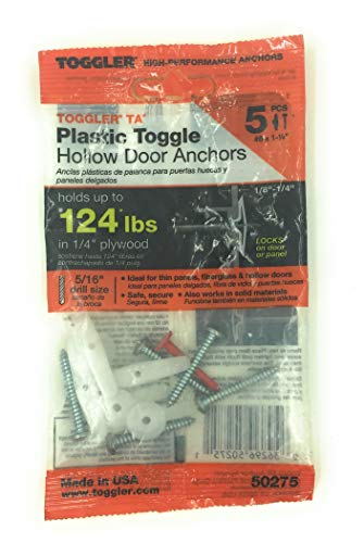 TOGGLER Toggle TA Hollow-Door Anchor with Screws, Polypropylene, Made in US, 1/8' to 1/4' Grip Range, For #8 to #12 Fastener Sizes (Pack of 5)