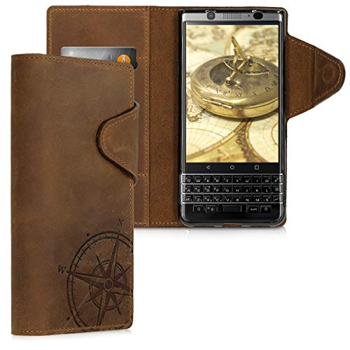 kalibri BlackBerry KEYone (Key1) Hülle - Leder Handyhülle für BlackBerry KEYone (Key1) - Handy Wallet Case Cover - Kompass Vintage Design Braun