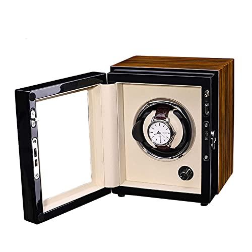 Enrollador de reloj, enrollador de reloj para reloj individual automático con motor silencioso Exterior de pintura de piano de carcasa de madera, caja de presentación giratoria de madera para relojes