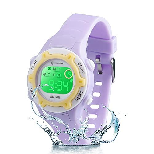 Reloj Niño Niña Digital,7 Colores Impermeables Relojes de Pulsera Infantil,Relojes Deportivos de Pulsera Multifuncionales para Exteriores con Cronómetro/Alarma para Niños 4-15 años (púrpura)