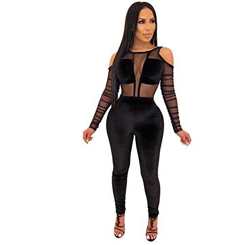 SeqSh Womens Mesh Velvet Jumpsuit Clubwear Langarm Rundhals Durchsichtig Bodycon Club Strampler,Schwarz,L