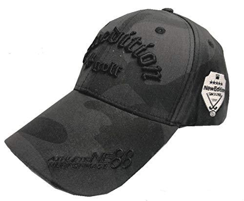 【NewEdition GOLFR】ニューエディションゴルフ・カモフラージュ柄 カモ柄 3D刺繍アスリート ワッペン キャップ サンバイザー メッシュ ゴルフ 帽子 フリーサイズ NEG-299 (キャップ・ブラックカモ)