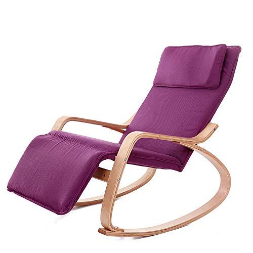 ChenYongPing Cojín cómodo Relax 66x120x87cm Silla de oscilación de la Silla de salón con la Tela de algodón Interior Tumbona reclinable al Aire Libre Tumbona (Color : Purple, Size : M)