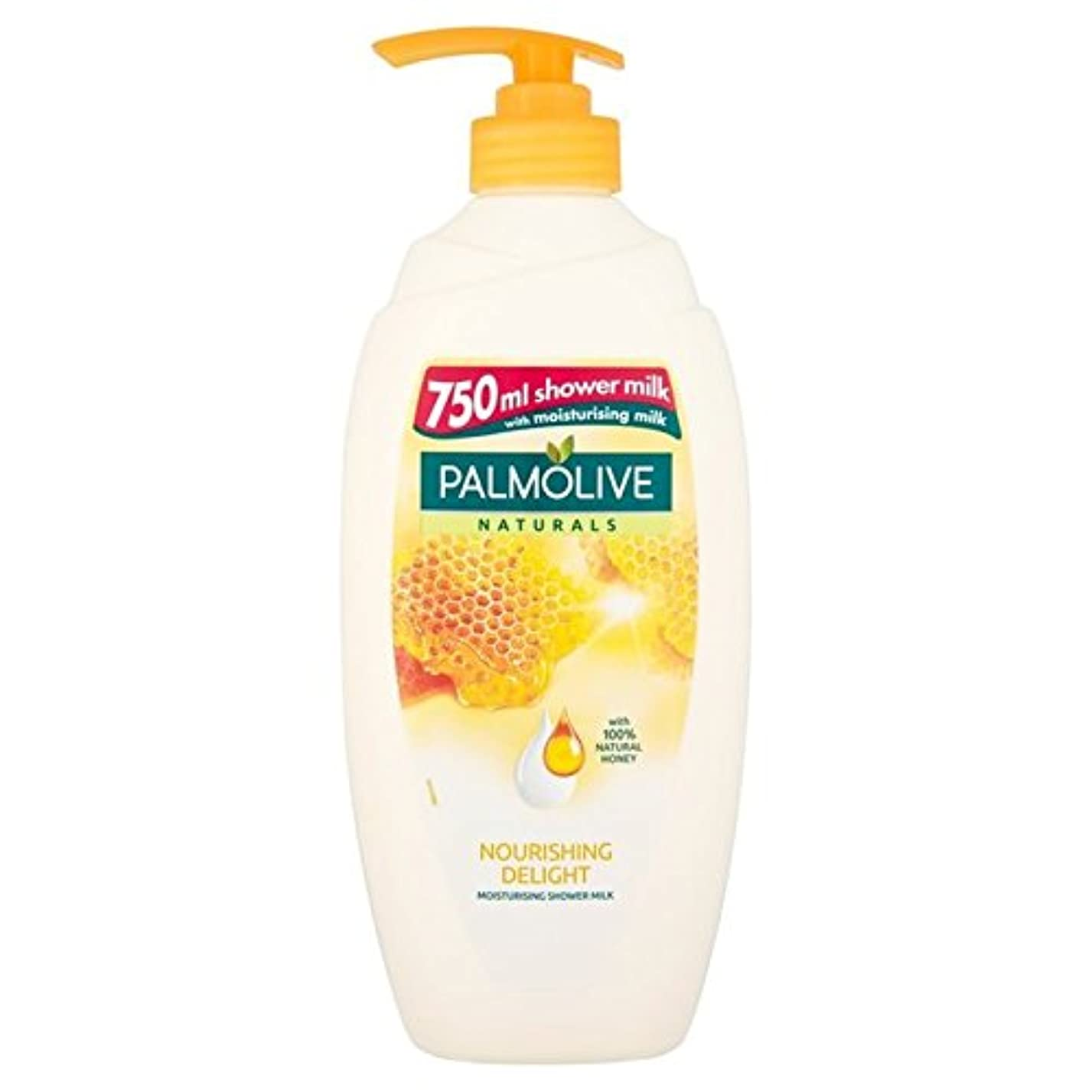 ブル検査官シャイ蜂蜜の750ミリリットルとシャワーナチュラルミルク栄養パルモライブナチュラル x4 - Palmolive Naturals Nourishing Shower Naturals Milk with Honey 750ml (Pack of 4) [並行輸入品]