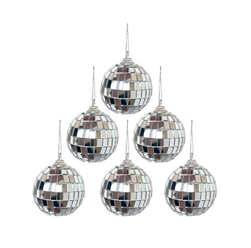 Alikeke 6 Pcs 2 Inch Disco Ball Mirror Party Christmas Xmas Tree Ornament Decoration with Cosmos Fastening Strap