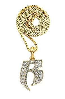 NEW  R  RUFF RYDERS PENDANT & 24  VARIOUS CHAINS HIP HOP NECKLACES - XSP651GR  Box Chain