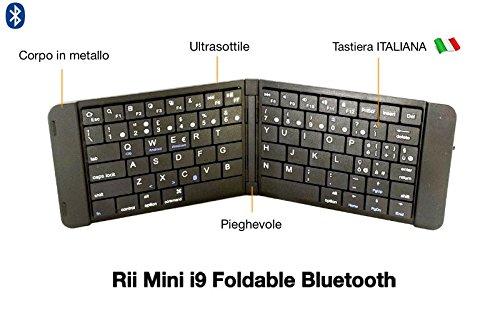 Rii - Teclado Mini i9Bluetooth (formato italiano)–Teclado Bluetooth, ultra fino para Tablet, smartphone, ordenador portátil, PC, PlayStation i9 Nero (pieghevole)