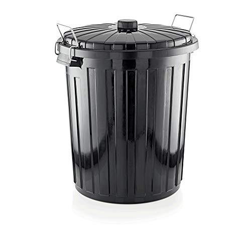 WAS 9229 730 Polypropylen Abfallbehälter mit Deckel und 2 Verschlussklammern, 73 L, 50cm Durchmesser, 60cm Höhe