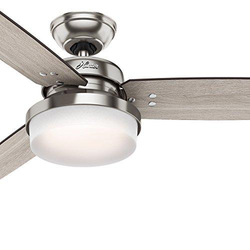 Hunter Fan 52 inch LED Ceiling Fan with Cased White Glass Light Kit, Brushed Nickel (Renewed)