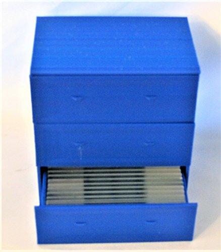 Microscope Slides Storage Cabinet with Drawers, Mini Slides Box, Miniature Desk Lab Furniture (Blue)