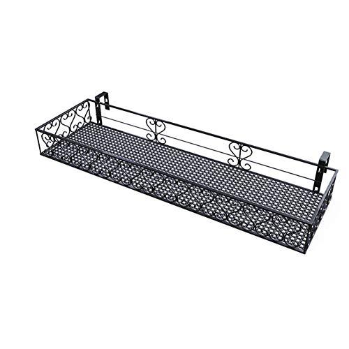 CCSUN Metall Hängenregal Mit Haken, Balkon Blume Topf Halter Korb Halter Geländer Regal Raum-sparen Für Patio Porch-f 80×12×20cm