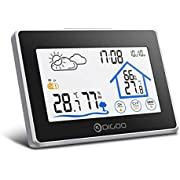Wireless Weather Station, DIGOO DG-TH8380 In&Outdoor Thermometer Hygrometer with Touch Screen, Outdoor Sensor, Weather Forecast, Alarm Clock Snooze Function for Home, Bedroom, Office