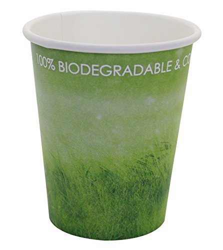 Special Green Grass Design, Disposable Hot Paper Cup,Eco-friendly,100% Blodegradable&Compostable, without lid (Green Grass, 8 0Z 50 count)