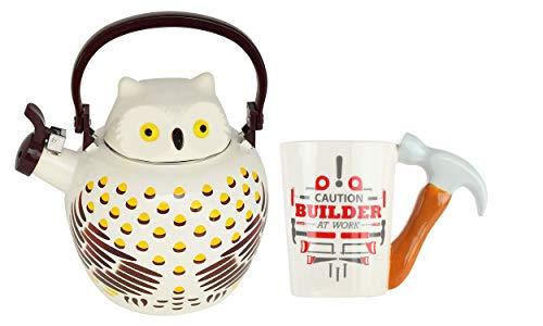 HOME-X Owl Whistling Tea Kettle & Hammer Handle Ceramic Coffee Mug