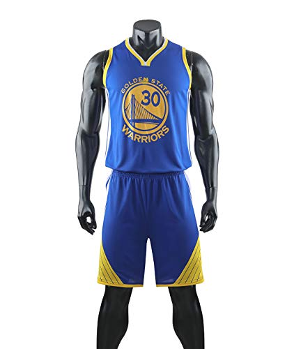 HS-XP Niños Chicas Adult Hombres NBA Golden State Warriors # 30 Stephen Curry Basketball Jerseys Traje Top Verano + Trajes Cortos, 100% Poliéster, No Fade,Azul,XL(Adult) 165~170CM