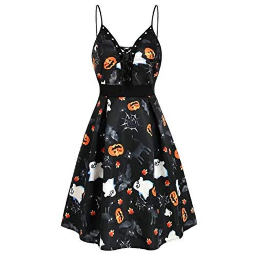 Auifor Deguisement Halloween Robe de Soirée Vintage, Mode féminine New Halloween Citrouille fantôme imprimé Feuilles Dentelle Dress Up(Noir,Large)
