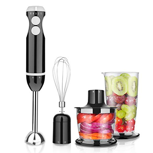 Homevolts Hand Blender 5 Speed Electric Stick Blender with Mixing Whisk, Food Chopper and 700ml Breaker