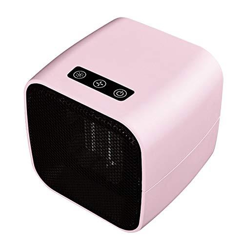 ASY Elektrische Heizung, tragbare Mini-Keramik-Heizlüfter Schnelle Heizung mit Thermostat Personal Heizgeräten Ventilator mit Umkippen und Überhitzungsschutz for Home Office (Color : Pink)