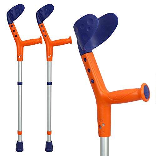 ORTONYX Kids Walking Forearm Crutches (1 Pair) Good for Children and Short Adults up to 220lb - Adjustable Arm Support- Lightweight Aluminum - Ergonomic Handle with Comfy Grip