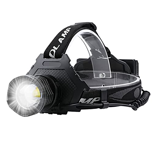 LED Rechargeable Headlamp, 90000 Lumens Super Bright with 5 Modes and IPX7 Level Waterproof USB Rechargeable Headlamp, 90° Adjustable, Suitable for Outdoor Camping, Running, Cycling,Climbing, Etc