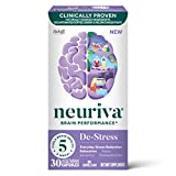 Nootropic Brain Support Supplement - NEURIVA De-Stress Capsules (30 Count in a Bottle), for Everyday Stress Reduction, Relaxation, Focus, Accuracy & Concentration*, L-Theanine, SOD, Coffee Cherry