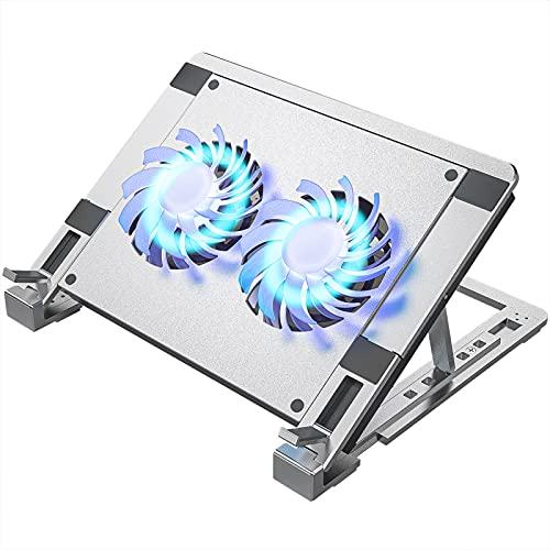 Laptop Ständer, Aluminium Laptop Kühler Stand Notebook Laptophalter , 10-15.6 Zoll Computerständer Notebook Kühlständer mit 2 Lüfter , 2000 RPM , 5 einstellbaren Höhen, USB Port & Typ-C-Port