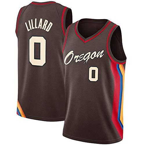 WSUN Maglie Basket NBA da Uomo - Maglia da Basket Damian Lillard NBA 0# Portland Trail Blazers T-Shirt Sportiva Senza Maniche Traspirante per Il Tempo Libero,M(170~175CM/65~75KG)