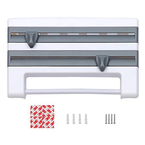Yagosodee Dispensador de Rollo Triple 3 en 1 para Cocina Película Adhesiva de Papel Dispensador de Toallas Montado en La Pared Gris