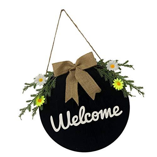 Homoyoyo Cartel de Bienvenida Rústico Decoración de La Puerta de Entrada Cartel Colgante de Madera Redonda con Flor de Eucalipto Porche de Casa de Campo Decoración del Hogar