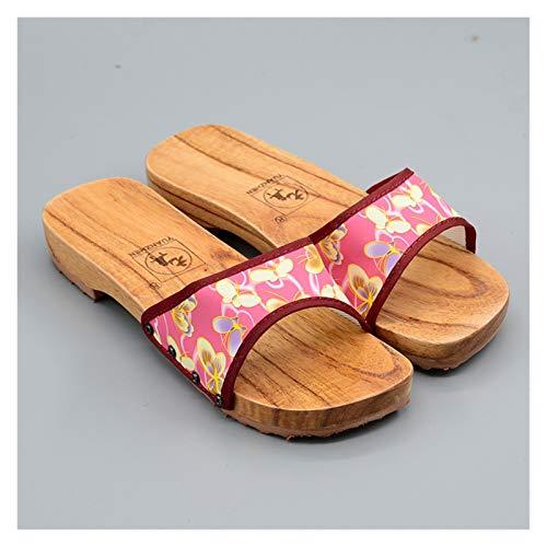 Without logo SFQRYP Zapatillas de Madera para baño Hombres Anterior Anterior Hombres Y Mujeres Zapatos de Madera, Pareja de cuña de una Sola Cadena, Madera, baño, Zapatos de Madera, Zapatos