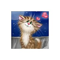 5Ddiyダイヤモンド絵画モダンステッカーダイヤモンド絵画動物シリーズダイヤモンド絵画かわいい猫のリビングルーム5Dクロスステッチ-40 * 50cm