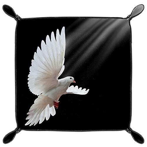 laire Daniel Faltbares Tablett aus PU-Leder für Uhren, Schmuck, Aufbewahrungsbehälter, Motiv: fliegende weiße Taube isoliert