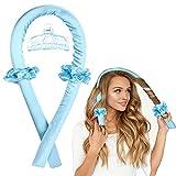 Heatless Hair Curlers for Long Hair To Sleep In Overnight, No Heat Curls Headband, Silk Soft Foam Hair Rollers, Hair Curlers DIY Hair Styling Tools for Long Medium Hair (Blue)